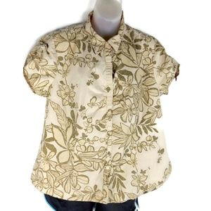 Izod Womens XL Floral Shirt Blouse Tropical